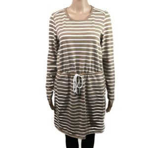 Merona Brown Stripes long Sleeve Round Neck Dress